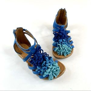 Maggie and Zoe Suede Blue Fringe Sandals